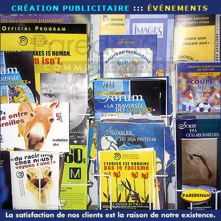 Afiches, brochures, dépliants, catalogues, revues et cartes d'invitation