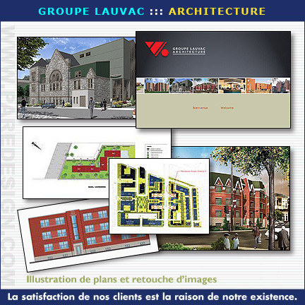 Illustrations de plans et retouches d'image pour Groupe Lauvac Architecture