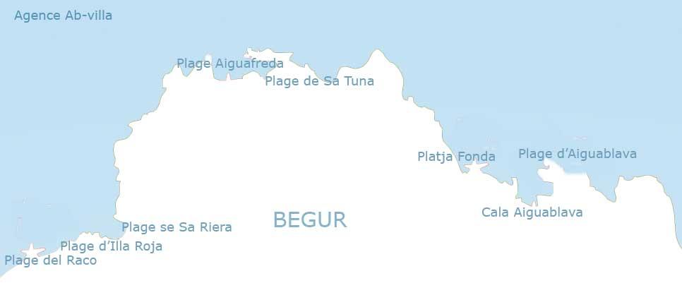 Situation de toutes les plages de Begur sur la Costa Brava en Espagne