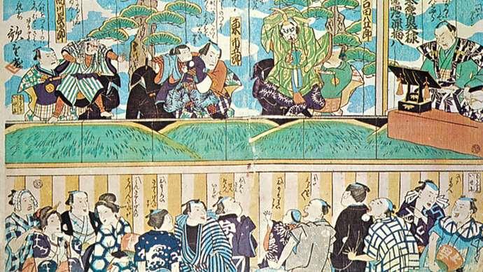 Interpretación de teatro de marionetas Bunraku. Ukiyo-e por Utashige, Siglo XIX. Museo Puppentheatermusseum, Munich.