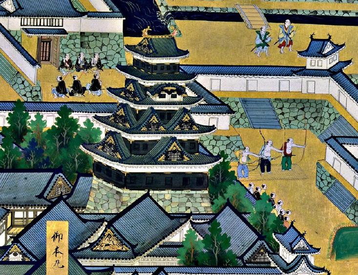 Castillo de Edo, escena de samurai. Pintura del S.XVII