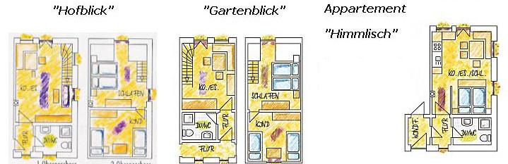 Grundrisse der beiden Fewos und des Appartements