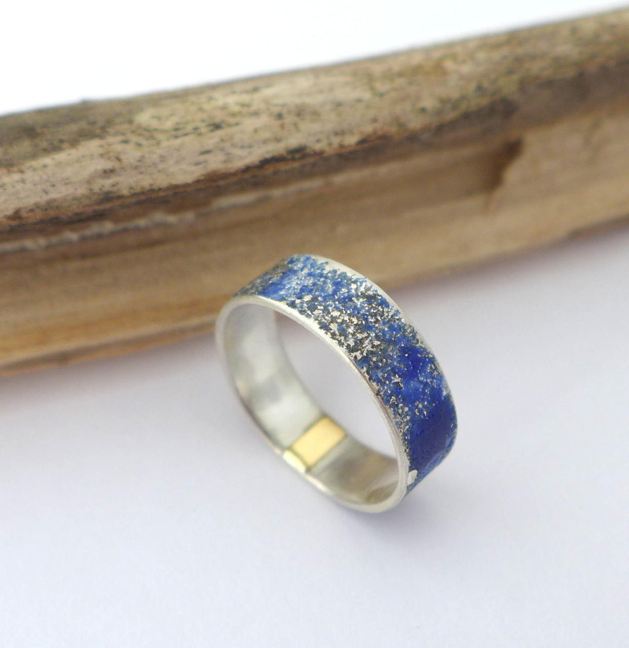 Ring, sterling silver with blue enamel, 14k yellow gold
