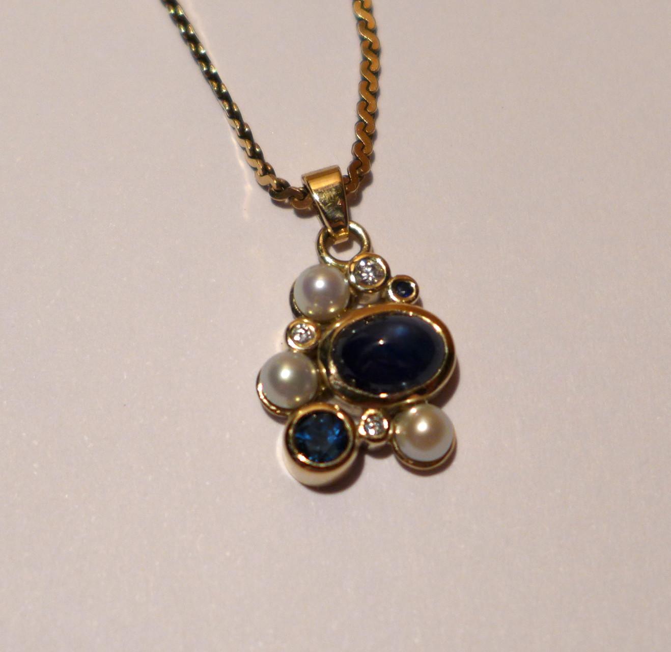 Pendant, 14k yellow gold, sapphires, diamonds, freshwater pearls