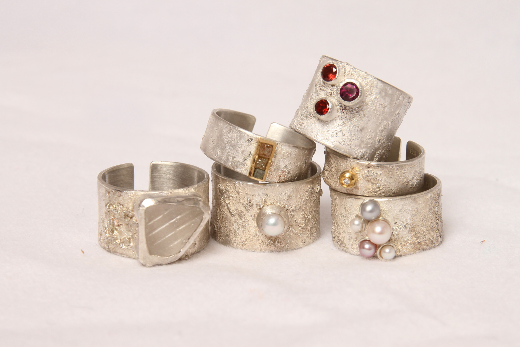 Rings, sterling silver, gems, glass, pearls, diamond