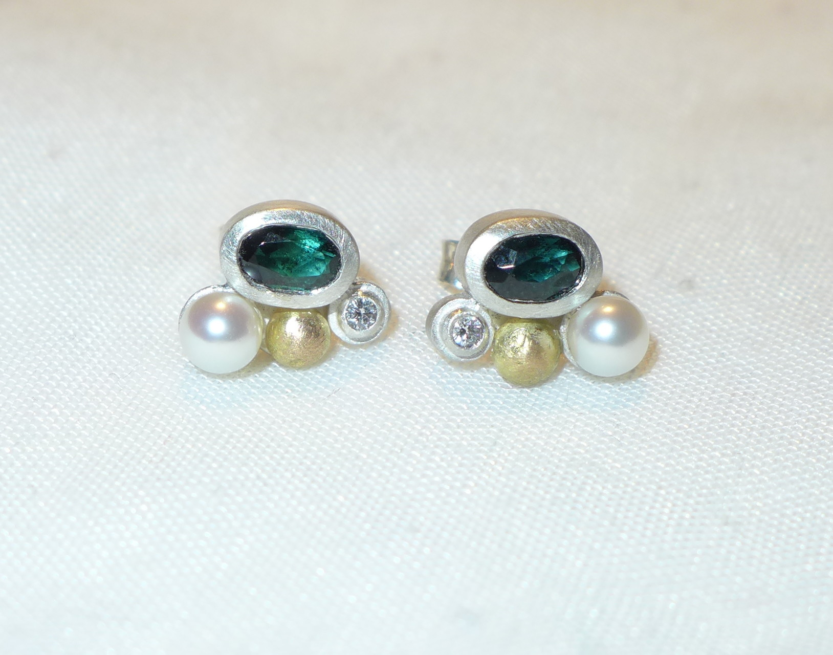 Studs, sterling silver, 18k gold, fine gold, tourmaline, pearl, diamond