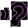 Lilafarbenes lineares Icon: Ohr mit Tonwellen
