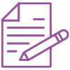Lilafarbenes Icon Dokument mit Stift