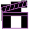 Lilafarbenes lineares Icon: Filmklappe leicht geöffnet