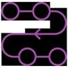 Lilafarbenes lineares Icon: Prozess mit vier Kreise verbunden mit einer geschwungenen Linie mit Pfeil