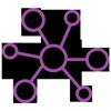 Lilafarbenes lineares Icon: Netzwerk mit grossem zentralem Kreis mit sechs Linien zu sechs kleineren Kreisen