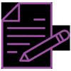 Lilafarbenes lineares Icon: Dokument mit Stift