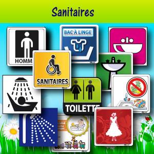 Plaques de portes, adhésifs et panneaux pour sanitares