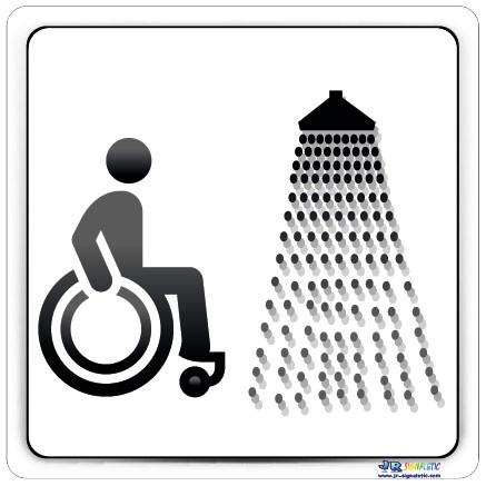 Plaque de porte handicap jr signaletic panneaux campings - Largeur de porte pour accessibilite handicape ...