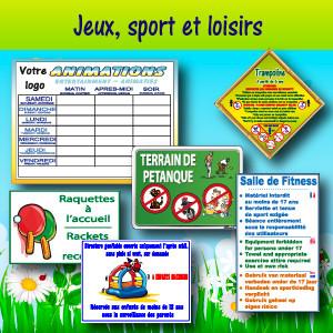 Panneaux et adhésifs jeux, sport et loisirs