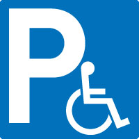 Panneau bleu parking handicapé