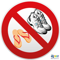 Panneaux et adhésifs Chaussures interdits