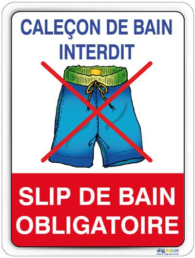 Cale on interdit jr signaletic panneaux campings for Short de bain piscine