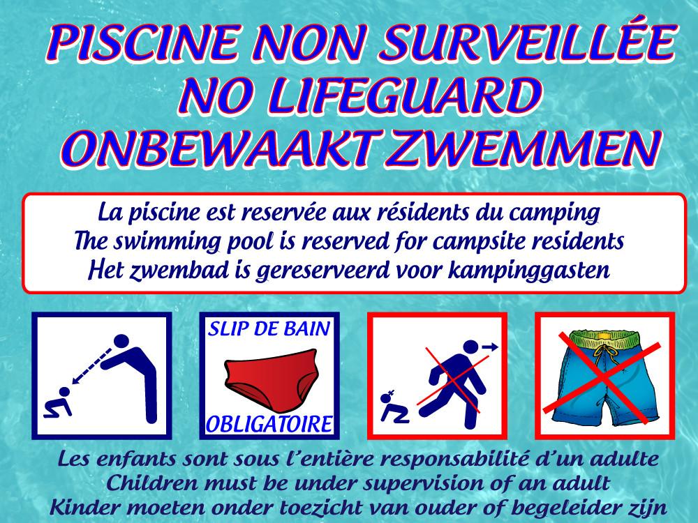 Panneaux piscine non surveill e jr signaletic panneaux for Panneau piscine