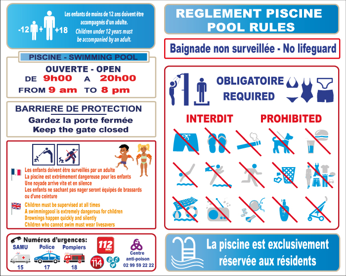 R glementation piscine jr signaletic panneaux campings for Piscine en anglais