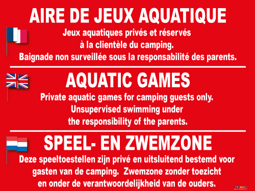 panneau jeux aquatiques jr signaletic panneaux campings. Black Bedroom Furniture Sets. Home Design Ideas