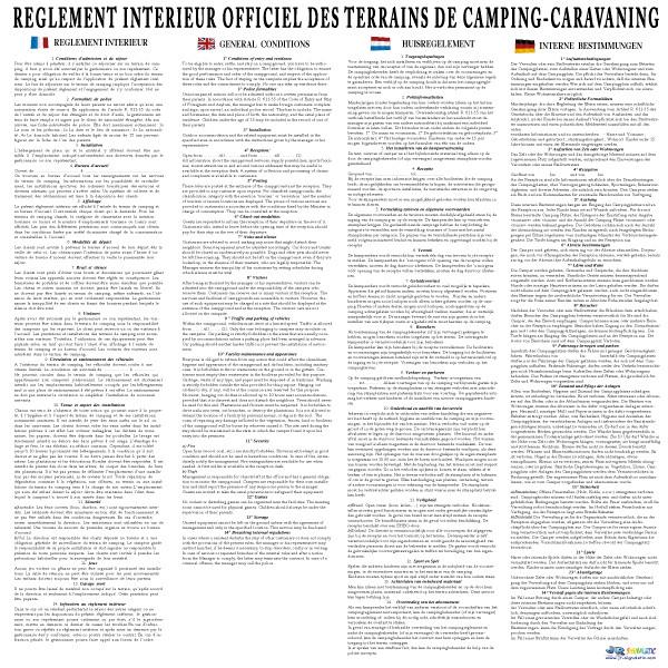 R glement int rieur jr signaletic panneaux campings for Interieur en anglais