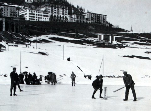 Cricket on Ice in St Moritz, winter 1900
