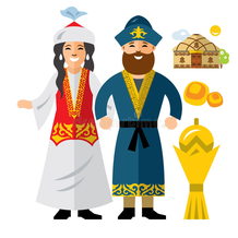 Kasachische Trachten und Symbole