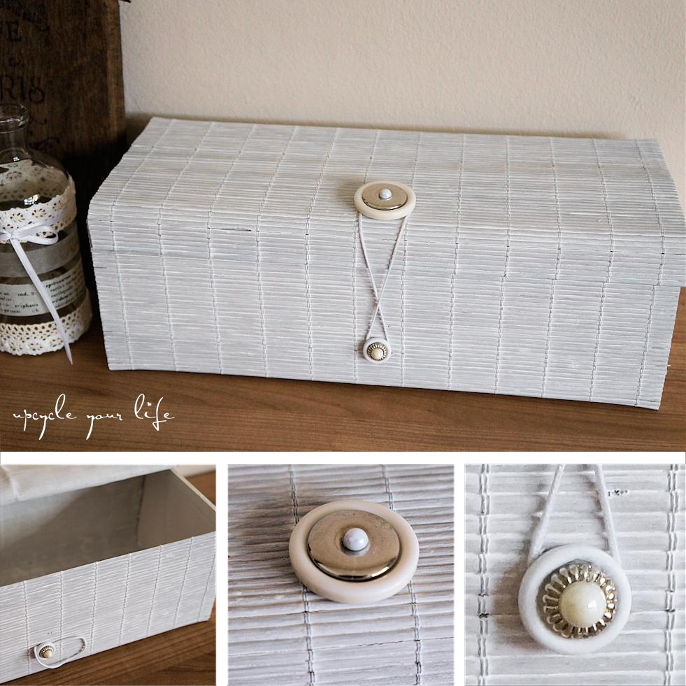 tischset-box aus einem ausrangierten, weiß gemalten tischset, mit verschlüssen aus perlen & knopfresten...