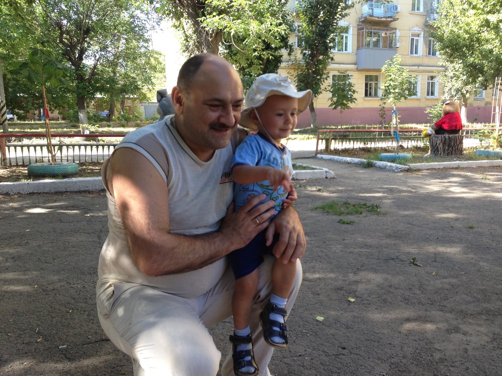 Со своим малышом Сашенькой.
