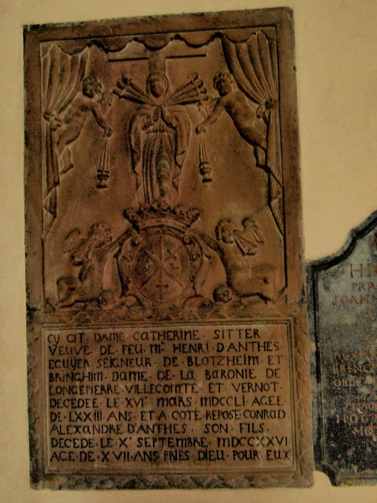 Eglise Saint-Maurice : Catherine Sitter femme de Jean Henri d'Anthès né à Weinheim