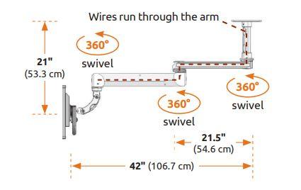 ICWUSA 昇降式アーム 天井固定用モニターアーム シーリングアーム 天井取付用モニターアーム ガススプリング T2EQシリーズ 天吊り