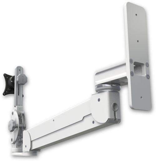 AST2E12P-WT2 : ガススプリング内蔵 昇降式 壁面固定ロングアーム ディスプレイ用