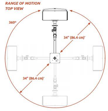 ICWUSA 昇降式アーム 天井固定用モニターアーム シーリングアーム 天井取付用モニターアーム ガススプリング ELP6220シリーズ 天吊り 可動域