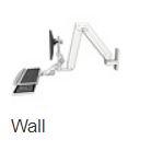 ASELP5220-WT-KUP : ロングモニターアーム ウォールマウント 壁面固定 昇降式 ディスプレイキーボード用アーム