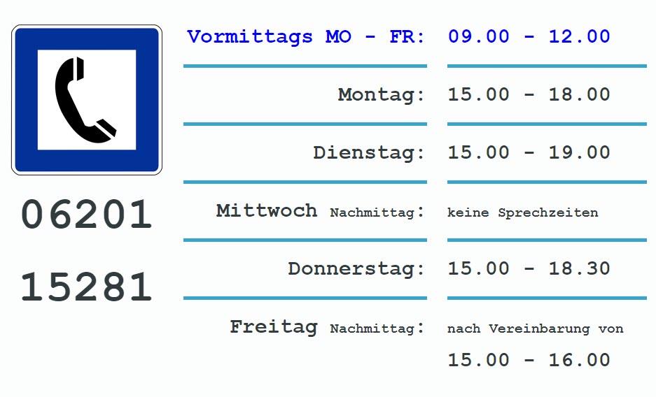 Die aktuellen Öffnungszeiten | Praxis für Allgemeinmedizin Dr. med. Monika Reinhardt in Weinheim, Lärchenweg 11