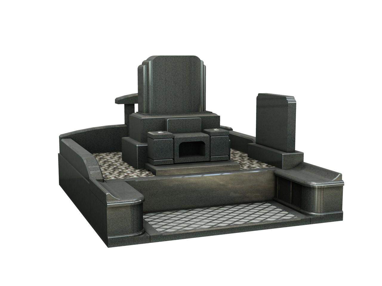 高級青黒系御影石 洋型23号 70×80
