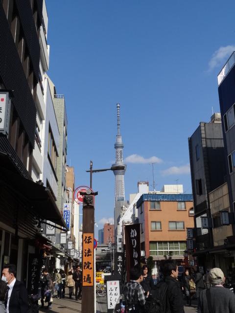 台東区浅草2丁目伝法院通りからの東京スカイツリー