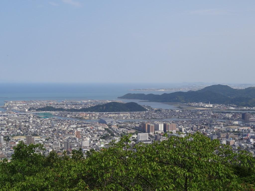 ひょうたん島のような津田山、茶と白い建物は徳島文理大学、その左上グレーの平べったい建物がアスティ徳島