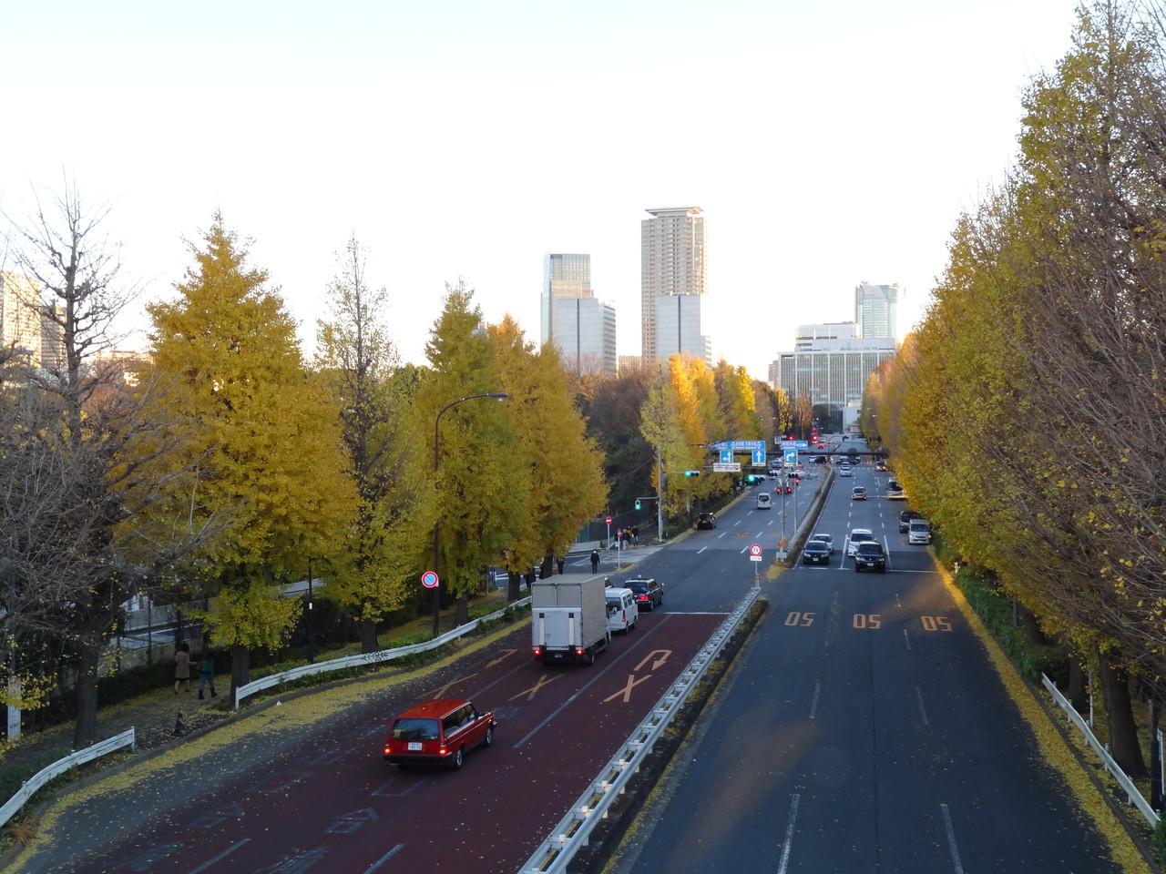 信濃町駅前より外苑東通り青山通り方面を望む、左奥明治記念館、その先東宮御所