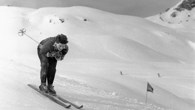 Hedy Kaufmann-Schlunegger Gründerin Kaufmann Sport Olympia Siegerinn  in der Abfahrt St-Moritz