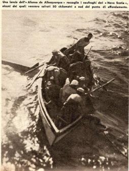 Dalla Domenica del Corriere una lancia portoghese raccoglie i naufraghi
