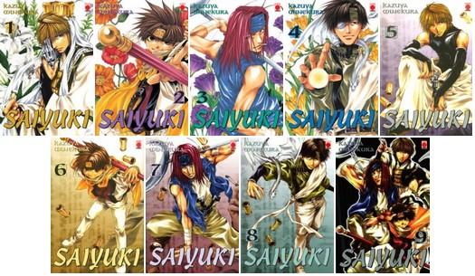 Adaptation en manga du roman chinois le voyage en occident. Saiyuki (saiyuki reload) raconte la quête d'individus cherchant le texte sacré :le sutra. Source:https://www.manga-news.com/index.php/report/Saiyuki