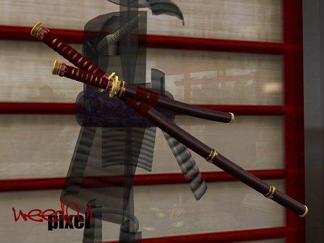 Katana et wakizashi. source: https://marketplace.secondlife.com/p/Uesugi-Daisho-Katana-Wakizashi-SpellFire-v40-dual-swords/1266039