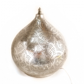 Oosterse Filigrain tafellamp, zilveren finish, Oosterse tafellamp