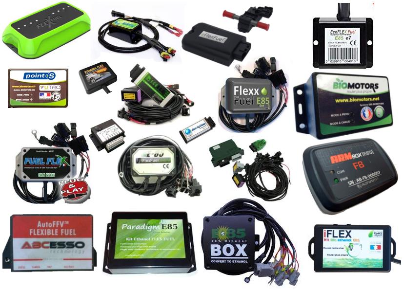 kits E85 : ABC Esso, Arm Box, Biomotors, Eco-system, Eflexfuel, Flexfuel, Fuelcat, Fuelflex, Ethanol box, Ecofuel Box, IFlex, Paradigm E85...