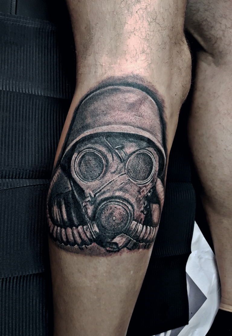Gasmask Soldier Tattoo