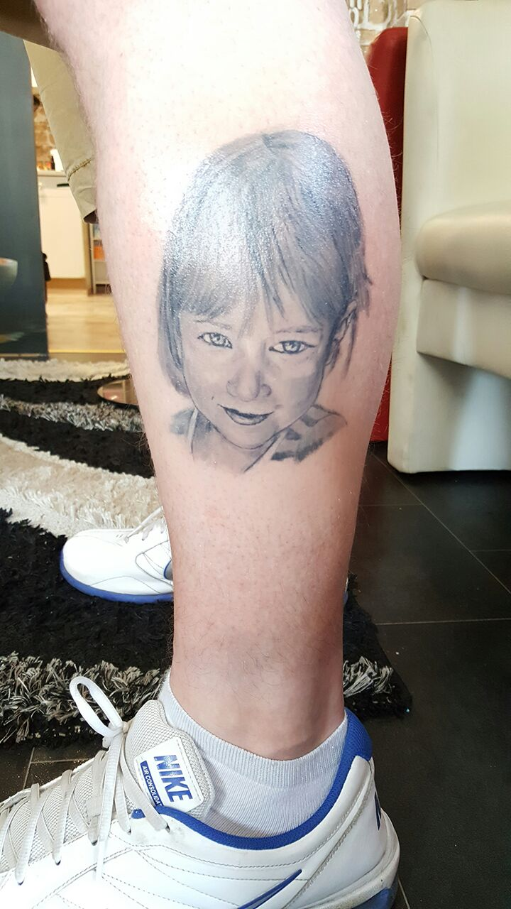 Kinder Portrait Tattoo