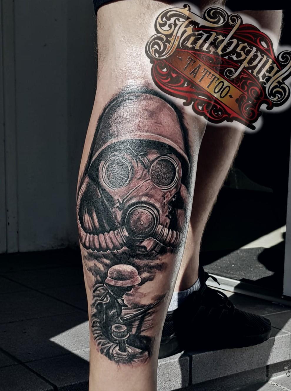 Solider Gasmask Tattoo