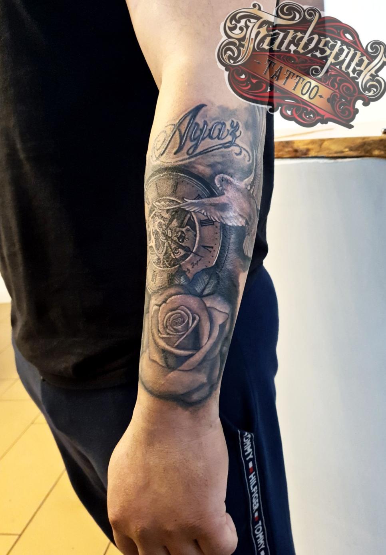 Watch rose tattoo